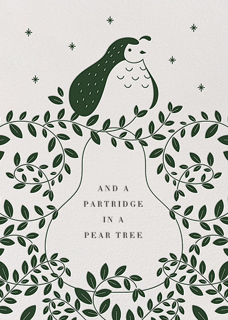 Partridge and Pear - Hunter Green - Paperless Post