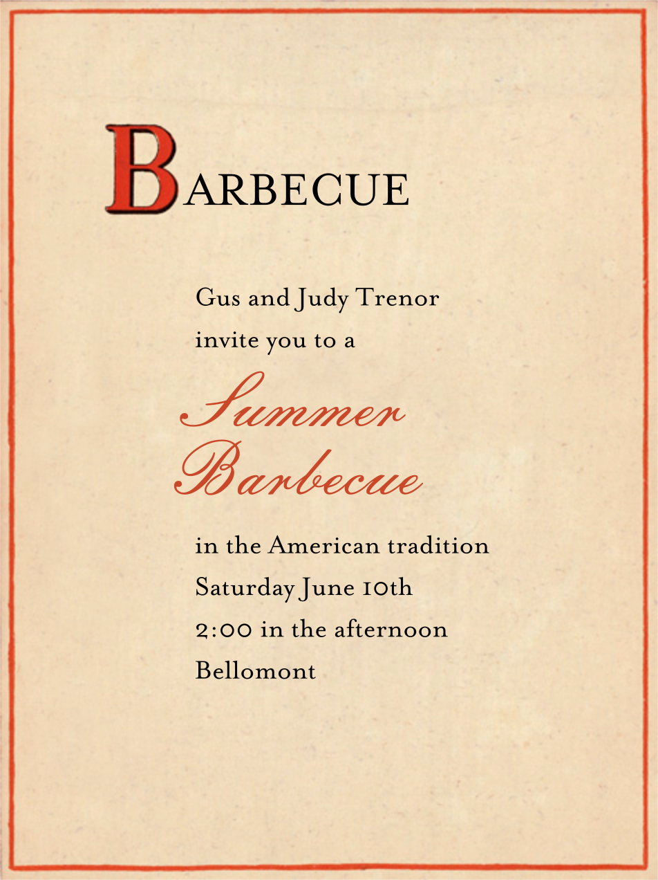 Red Letter - B - John Derian - Barbecue - card back