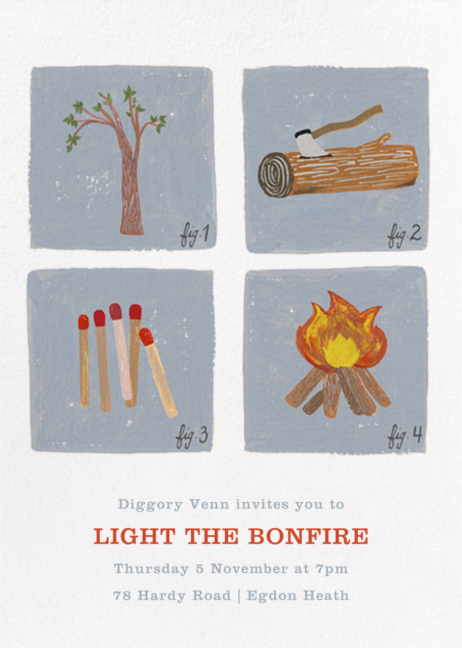 How to Build a Fire Invitation - Paperless Post - Bonfire Night
