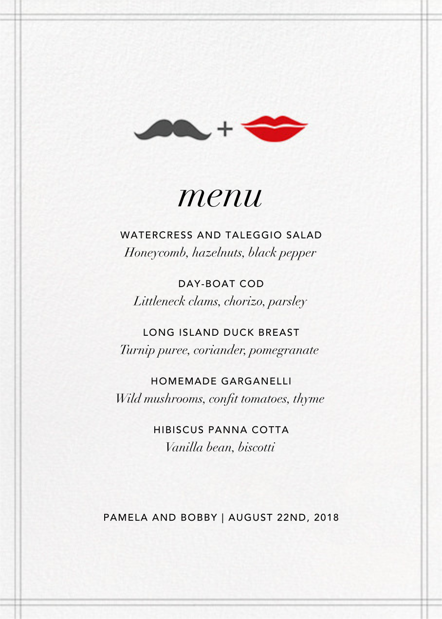 Mr. Stache and Ms. Lips (Menu) - Jonathan Adler - Menus
