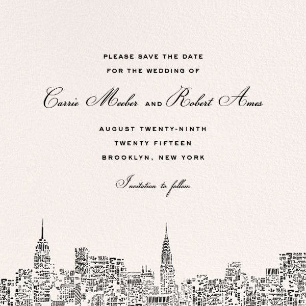 City Lights II (Save the Date) - Cream/Black - kate spade new york - Save the date
