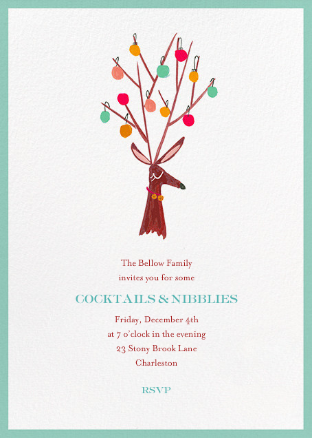 There's a Reindeer at the Door (Invitation) - Mr. Boddington's Studio - Holiday cocktail party invitations