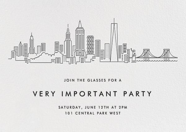 Manhattan Skyline View - White/Black - Paperless Post - General entertaining