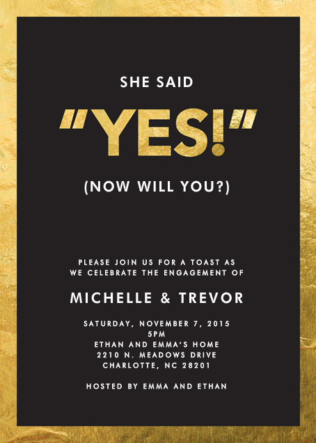 Yes! - Crate & Barrel - Engagement party
