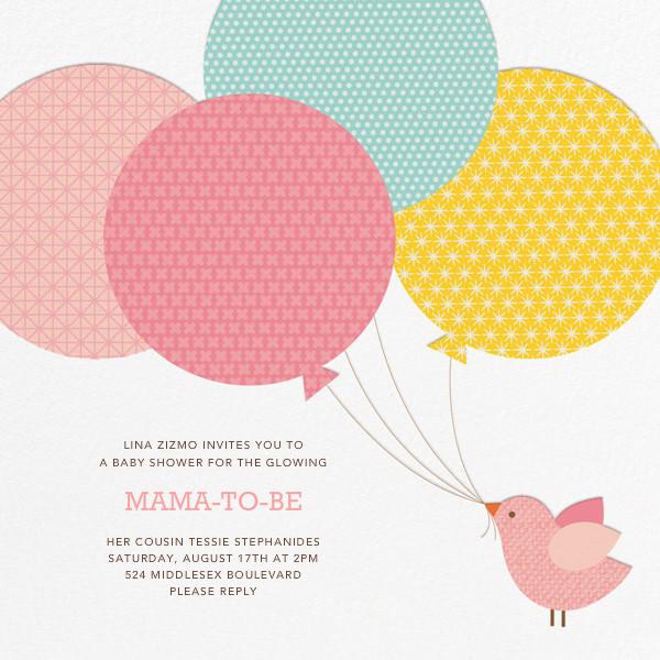 Bird Balloon (Invitation) - Pink - Petit Collage
