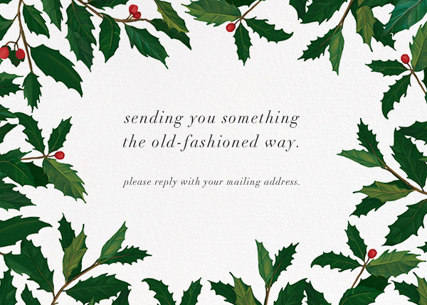 English Holly Border - Horizontal - Paperless Post - Address collection cards