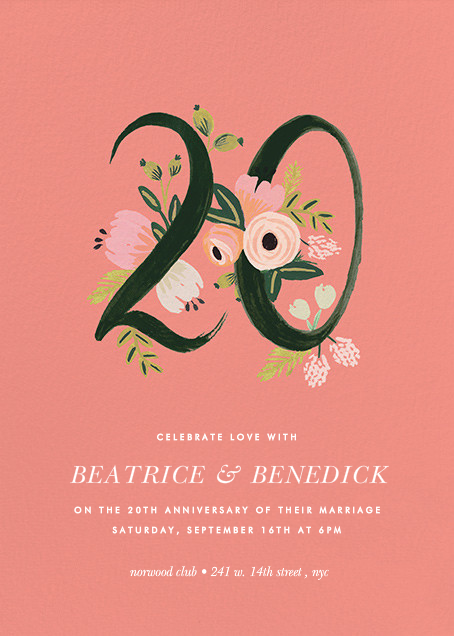 Botanic Numerals (Twenty) - Pink - Rifle Paper Co. - Anniversary party