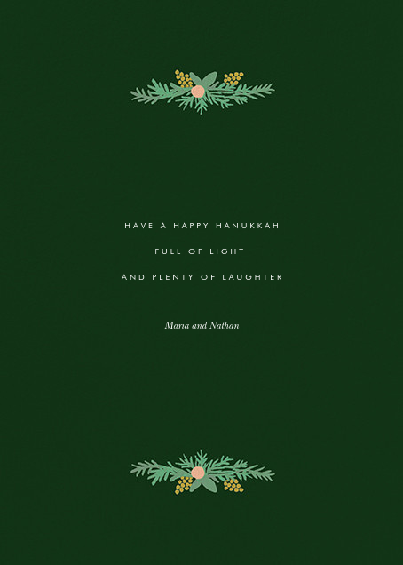 Floral Menorah (Greeting) - Hunter Green - Rifle Paper Co. - Hanukkah - card back