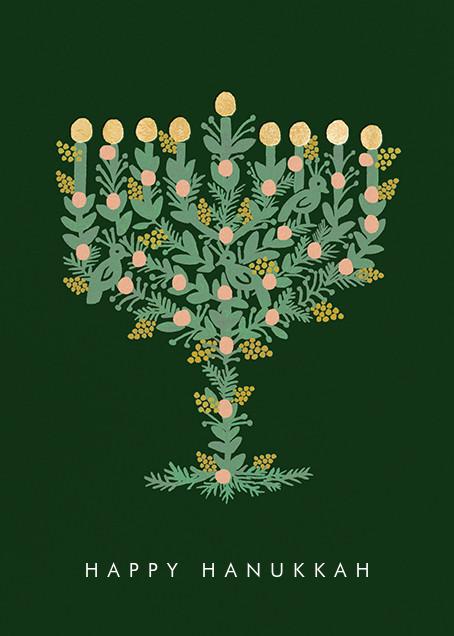 Floral Menorah (Greeting) - Hunter Green - Rifle Paper Co. - Hanukkah