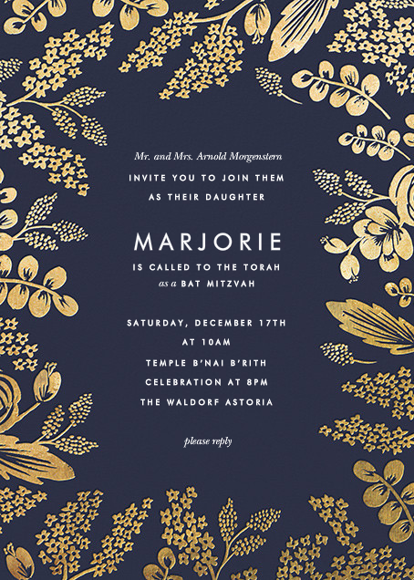 Heather and Lace - Navy/Gold - Rifle Paper Co. - Bat and bar mitzvah