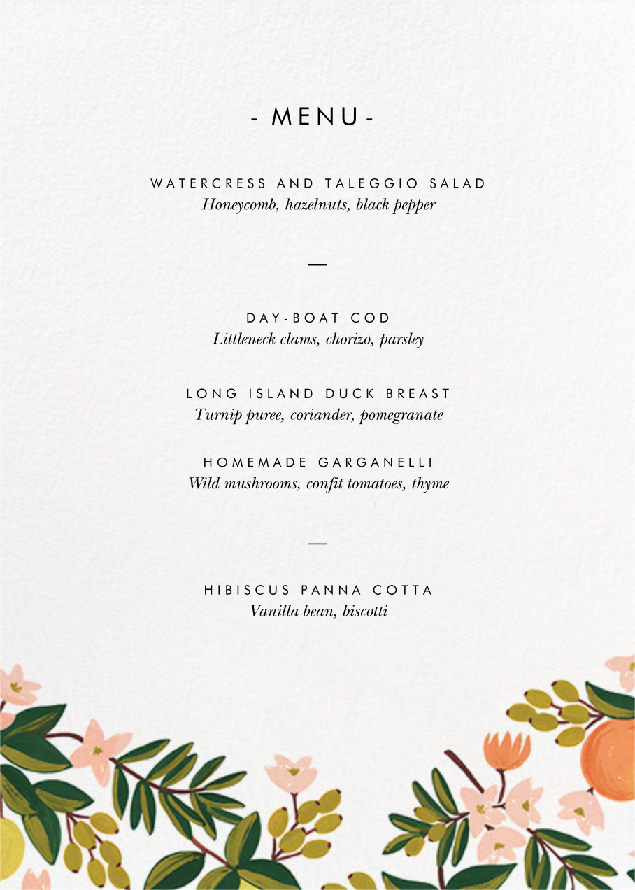 Citrus Orchard Suite (Menu) - White - Rifle Paper Co. - Menus and programs
