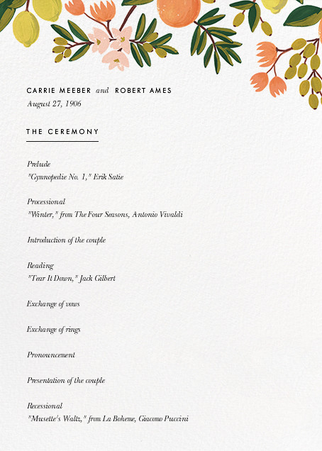 Citrus Orchard Suite (Program) - White - Rifle Paper Co. - Menus and programs