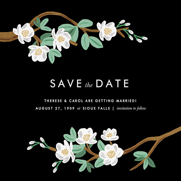 Tea Tree (Save the Date) - Black  - Rifle Paper Co. - Printable invitations