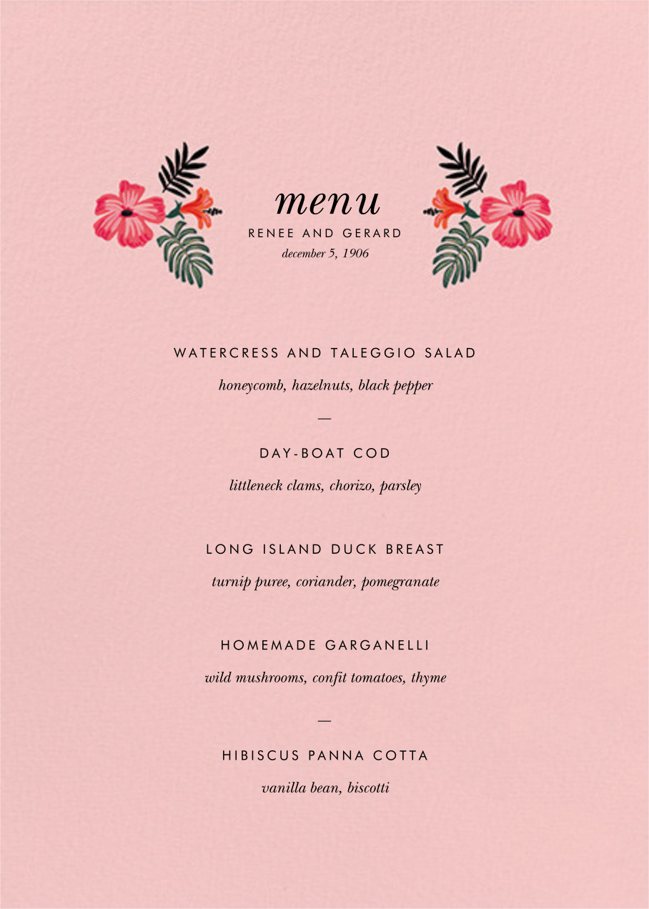 Kona Floral (Menu) - Pavlova - Rifle Paper Co. - Menus and programs