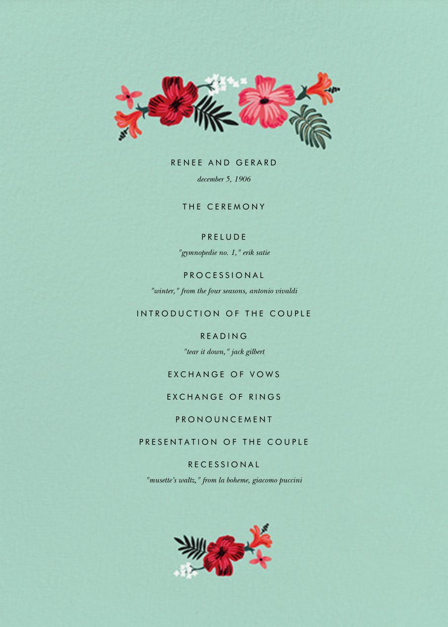 Kona Floral (Program) - Celadon - Rifle Paper Co. - Menus and programs