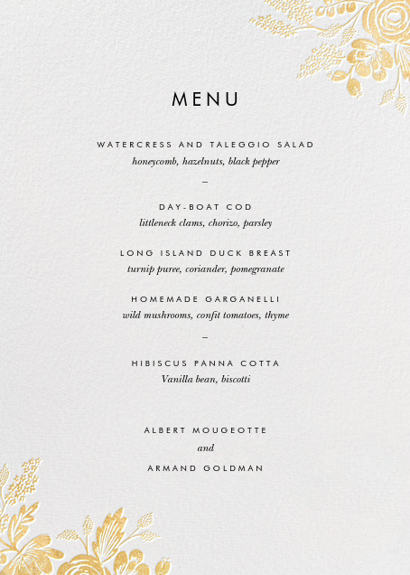 Heather and Lace (Menu) - White/Gold - Rifle Paper Co. - Menus