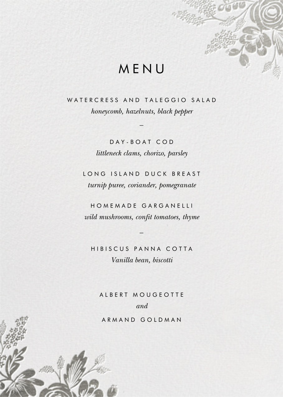Heather and Lace (Menu) - Silver - Rifle Paper Co. - Menus