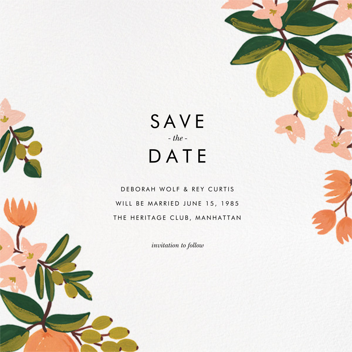 Citrus Orchard Suite (Save the Date) - White - Rifle Paper Co. - Save the date