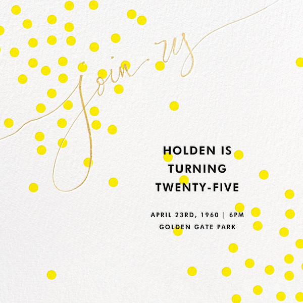 Join Us (Dots) - Yellow/Gold - Linda and Harriett - Adult birthday