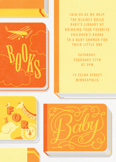 Little Library - Yellow - Paperless Post - Baby shower