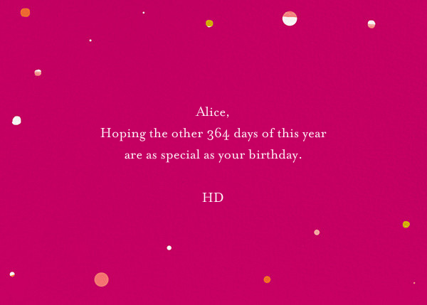 Scratchboard Birthday - Hot Pink - Ashley G - Back