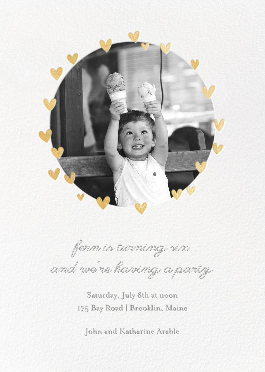 Little Heart Halo (Invitation) - Gold - Little Cube - Kids' birthday