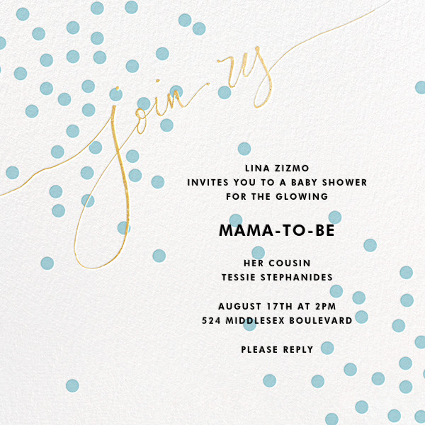 Join Us (Dots) - Blue/Gold - Linda and Harriett - Baby shower