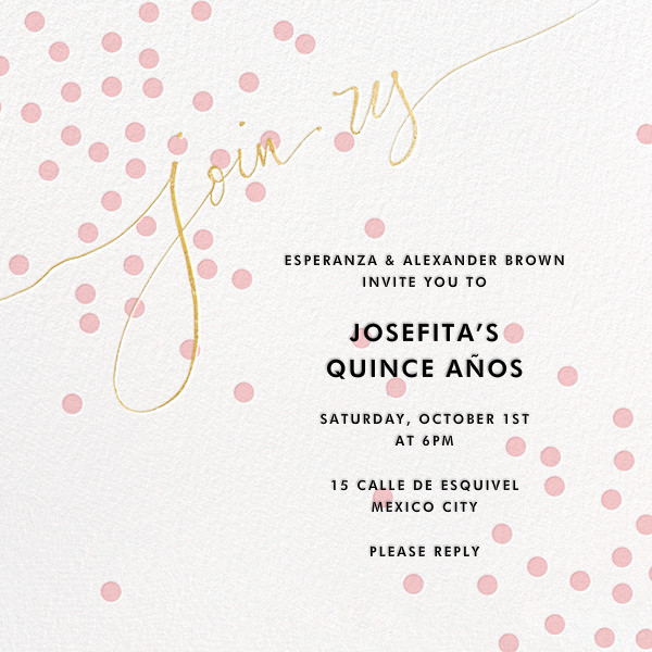 Join Us (Dots) - Pink/Gold - Linda and Harriett - Birthday