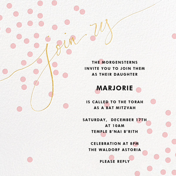 Join Us (Dots) - Pink/Gold - Linda and Harriett - Bar and bat mitzvah