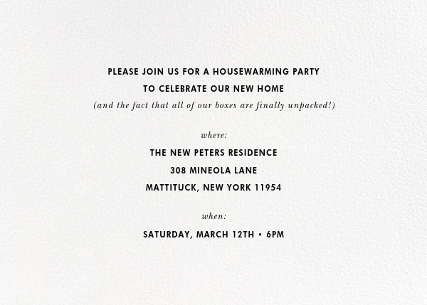 Welcome Mat (Invitation) - kate spade new york - Housewarming - card back