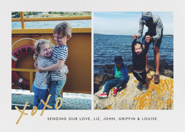 With Hugs and Kisses (Split-Screen) - Gold - Linda and Harriett - Holiday cards