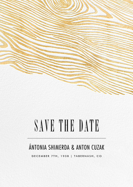 Burlwood II (Tall Save the Date) - Gold - Paperless Post - Party save the dates