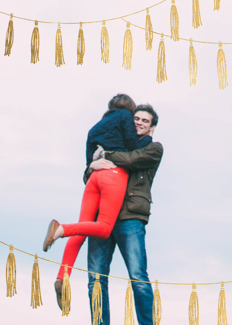 Tasseled II (Photo Save the Date) - Gold - Paperless Post