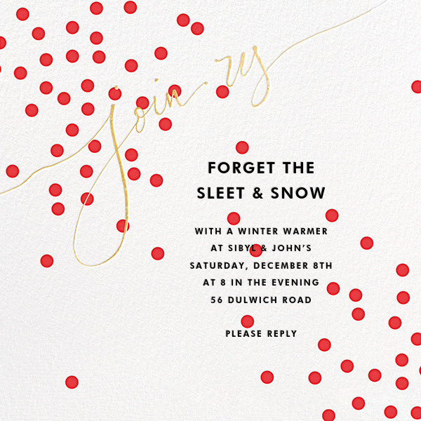Join Us (Dots) - Red/Gold - Linda and Harriett - Winter entertaining