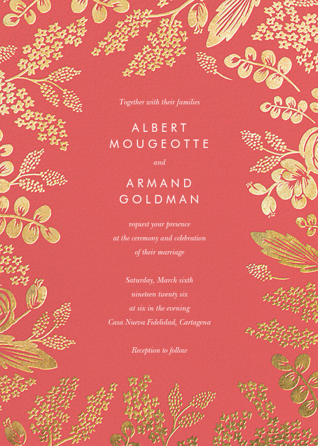 Heather and Lace (Invitation) - Coral/Gold - Rifle Paper Co. - All