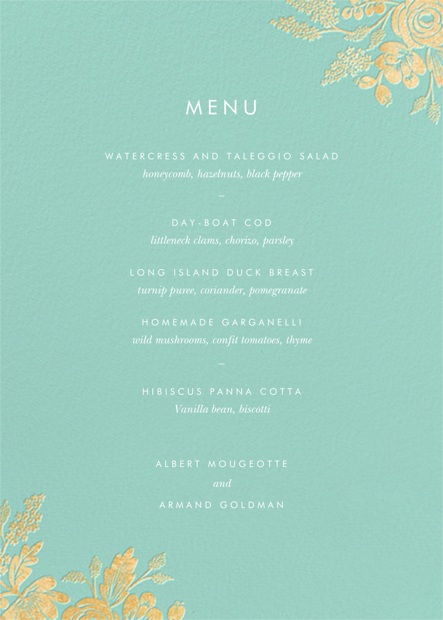 Heather and Lace (Menu) - Celadon/Gold - Rifle Paper Co.