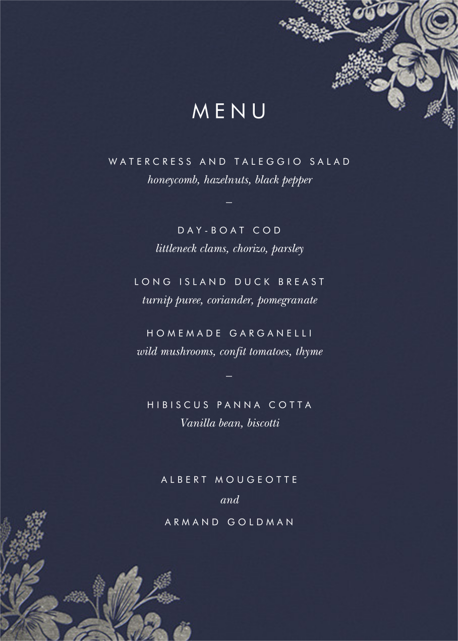 Heather and Lace (Menu) - Navy/Silver - Rifle Paper Co. - Menus