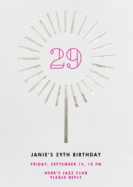 Year of the Sparkler - Silver/Ivory - Paperless Post - Adult birthday