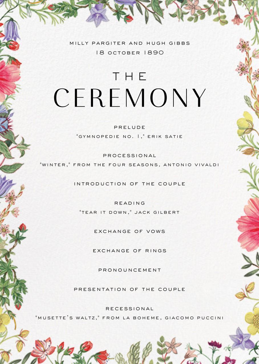 Archival Florals (Program) - Liberty - Menus and programs