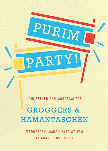 Get Out the Groggers (Invitation) - Paperless Post - Purim