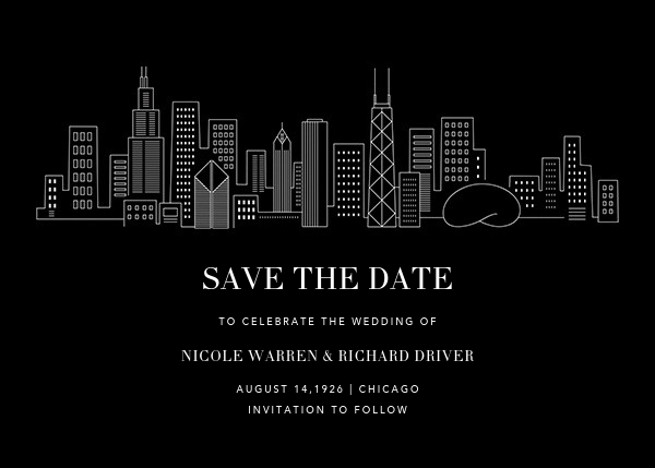 Chicago Skyline View (Save the Date) - Black/White - Paperless Post - Save the date