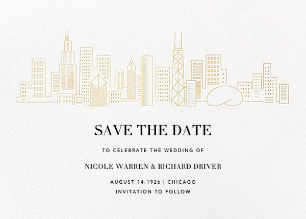 Chicago Skyline View (Save the Date) - White/Gold - Paperless Post - Save the date