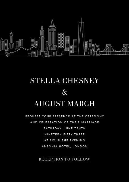 Manhattan Skyline View (Invitation) - Black/White - Paperless Post