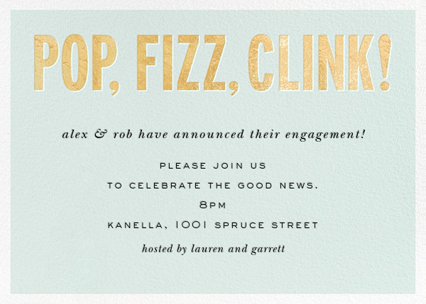 Pop Fizz Clink! (Horizontal) - kate spade new york - Engagement party