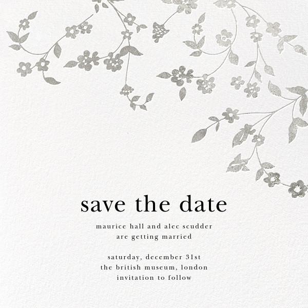 Floral Trellis (Save the Date) - Silver - Oscar de la Renta - Save the date