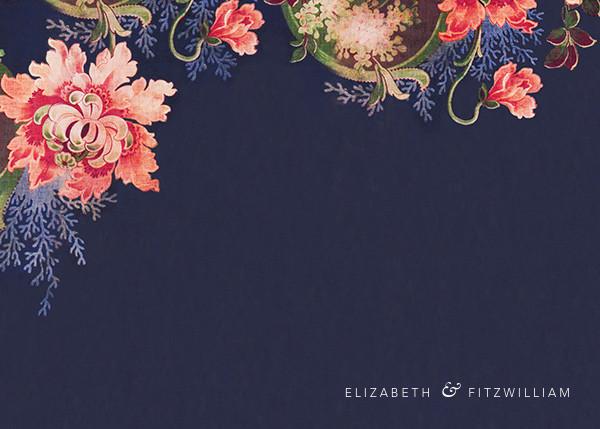 Rose Floral Ikat (Stationery) - Navy - Oscar de la Renta - Wedding stationery