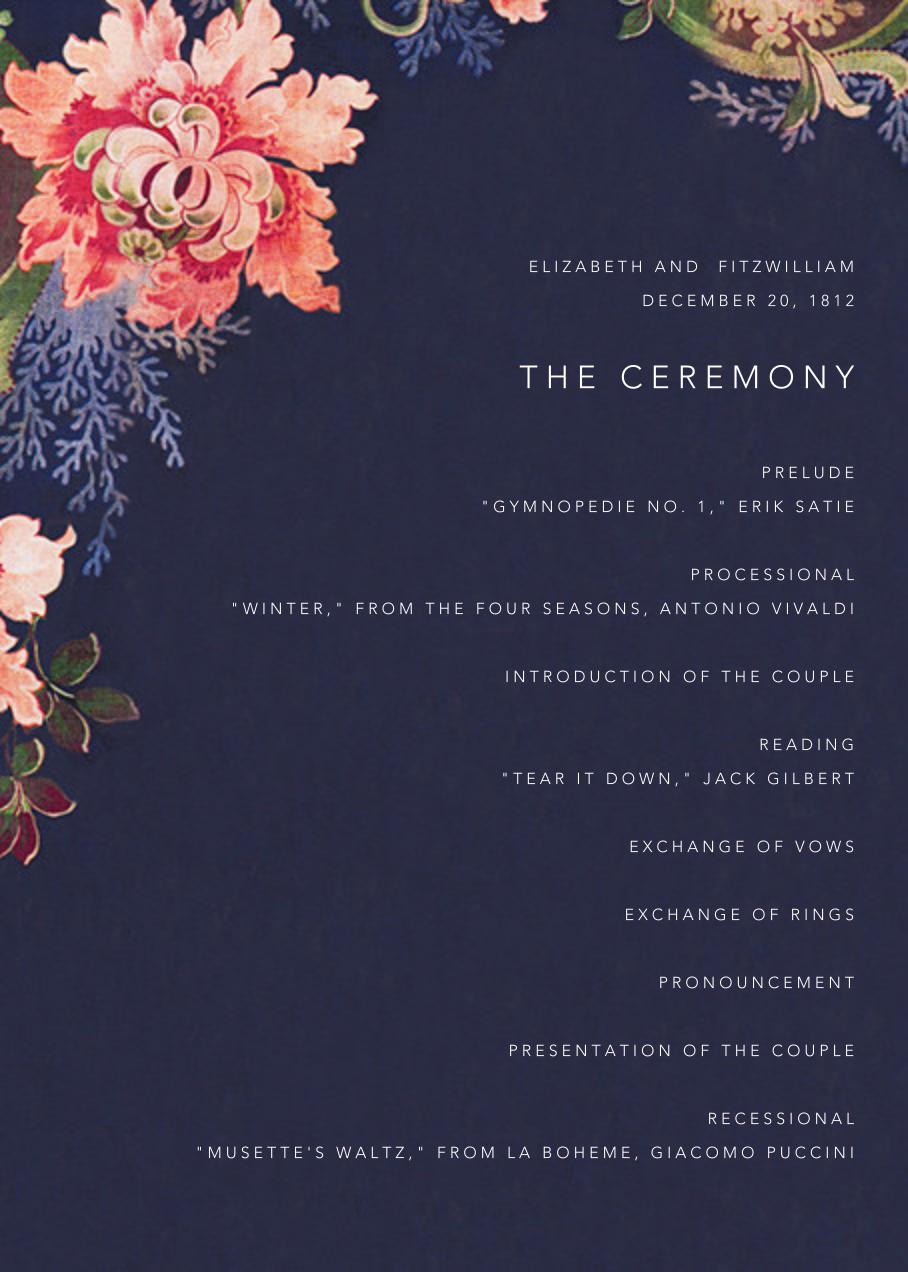 Rose Floral Ikat (Program) - Navy - Oscar de la Renta - Menus and programs