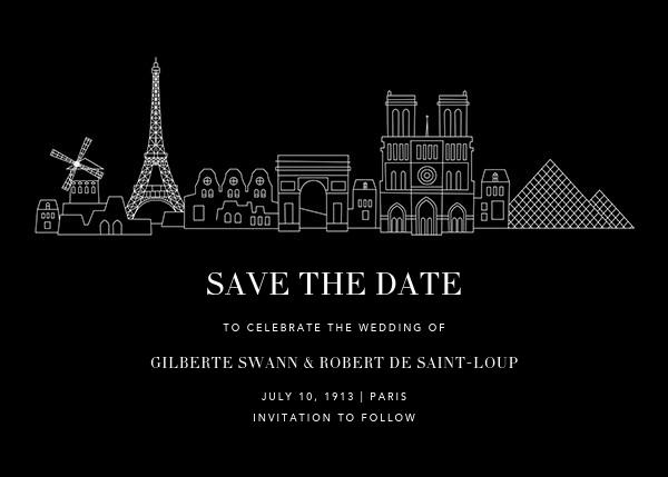 Paris Skyline View (Save the Date) - Black/White - Paperless Post