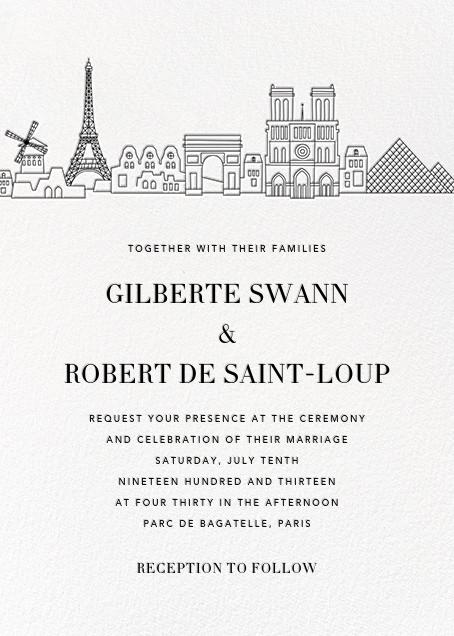 Paris Skyline View (Invitation) - White/Black - Paperless Post - All