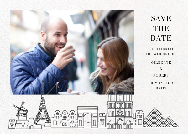 Paris Skyline View (Photo Save the Date) - White/Black - Paperless Post - Save the date